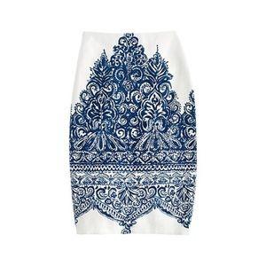 J Crew No. 2 Pencil Skirt Porcelain Paisley Size 4